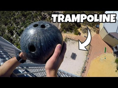 BOWLING BALL Vs. TRAMPOLINE from 45m