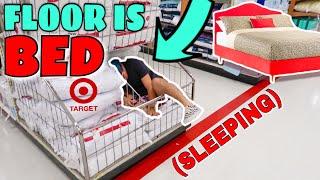 THE FLOOR IS BED CHALLENGE AT TARGET // DROP TO THE FLOOR & SLEEP!