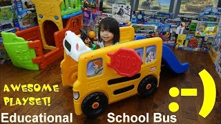 Kiddie Playground! Little Tikes Educational Playset Yellow Shool Bus with Slide Playtime!