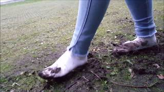 Celina: White socks in mud (part 3 of muddy socks and shoes series)