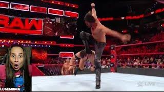 WWE Raw 1/15/18 Seth Rollins vs Finn Balor (CURB STOMP Returns)