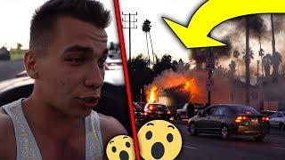 PŁONĄCE AUTO NA DRODZE! PIERWSZY DZIEŃ W LOS ANGELES