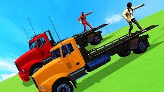 ULTIMATE DOWNHILL TRAILER SURFING! (GTA 5 Funny Moments)