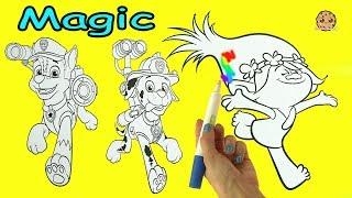 Magic Ink Rainbow Color Pen Surprise Picture Coloring Dreamworks Trolls + Paw Patrol