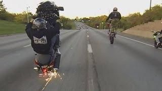 Suzuki Hayabusa Motorcycle Stunts On Highway Wheelie + Drifts Busa GSXR 1300 Drifting Wheelies 2016