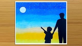 Father's Day drawing with Oil Pastels || How to draw Father and Son -step by step