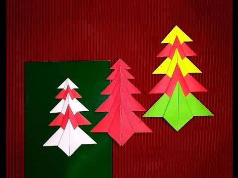 Easy Origami Christmas tree. Paper Christmas tree. Christmas card decoration