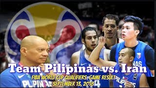 Team Pilipinas vs. Iran Game Results | Fiba World Cup Asian Qualifiers September 13, 2018.
