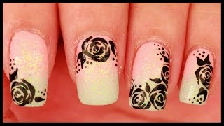 Black Roses on Pastel Ombre nail art