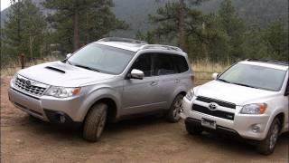 2011 Toyota RAV4 vs Subaru Forester muddy mashup review