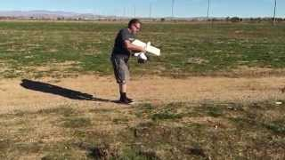 Maiden flight attempt with defective motor limping along.