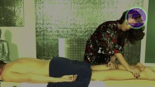Men Back body oil massage with women hand