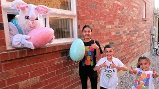 Giant Bunny Kids Pretend Play In Real Life Surprise Eggs with Toys