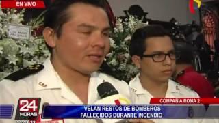 Velan restos de bomberos fallecidos durante incendio en El Agustino (5/6)