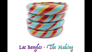 Making of colourful lac bangles