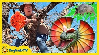 Giant Dinosaurs Attack Park Rangers Who Use Nerf Blaster Toys to Surprise Dinos and Save the Eggs