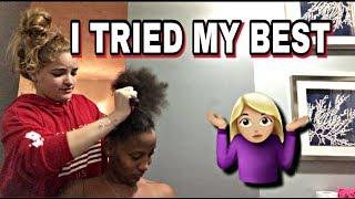 WHITE GIRL TRIES DOING HAIR
