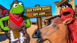 Kermit the Cowboy Takes his Horse to the Old Town Road!