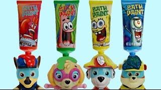 Learn Colors with Spongebob Squarepants Bath Paint, Crayons, Paw Patrol Paddlin