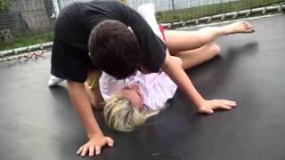 Trampoline wrestling.