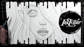 Sketching and Inking Vampire Girl - Vanessa