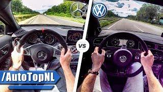 2018 VW Golf R vs 2018 Mercedes A45 AMG 0-250km/h ACCELERATION & TOP SPEED POV AUTOBAHN by AutoTopNL