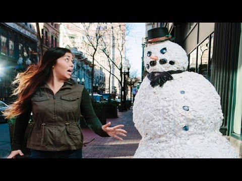 Funny Scary Snowman Hidden Camera Practical Joke Top 50 Of All Time 2016