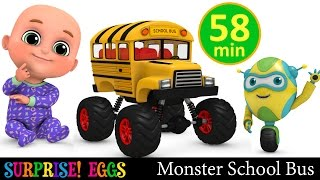 Monster School Bus | Monster Trucks | Car toys Surprise eggs unboxing | Kindergarten videos for kids