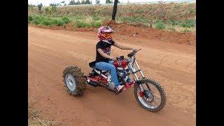 Triciclo Cross Motor de moto 125cc Finalizado primeiros testes Paulo Mootores