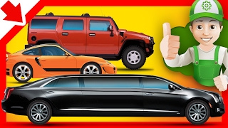 Handy Andy cartoon. Limousine SUV and racing car Cars for kids learning Cartoon for kids 4 years old