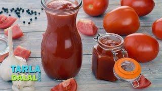 Tomato Ketchup, Homemade Tomato Ketchup by Tarla Dalal