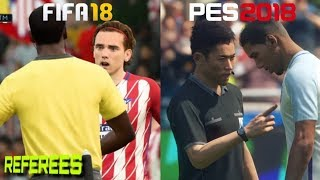 FIFA 18 Vs. PES 2018 | Referee Motions | Fouls & Cards Gameplay Comparison