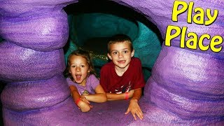 Indoor Play Place Jungle Tree Climb & Giant Slides Playground for Toddlers & Kids Vlog