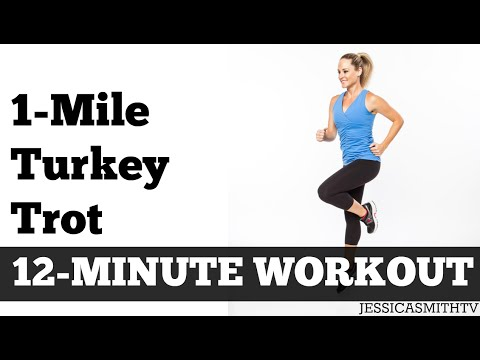 1 Mile Turkey Trot Fast Paced Walking Workout Full Length Low Impact Home Exercise Video