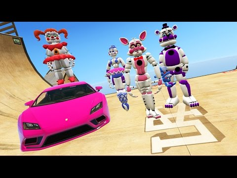 ANIMATRONICS STUNT OFF 100% IMPOSSIBLE RAMPS (GTA 5 Mods FNAF Funny Moments)