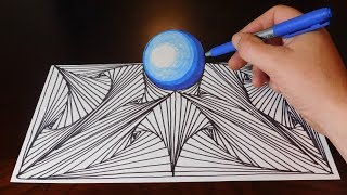 Doodle Sketch Pattern and Orb - Easy 3D Trick Art Illusion