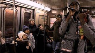 Crazy Spongebob Beatboxer Amazes Children on New York R Train. Verbal Ase