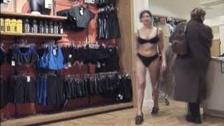 Sexy Lingerie Girl Strips In Public