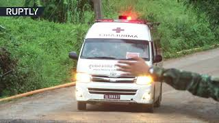 RAW: Ambulances carrying first children rescued from flooded cave in Thailand head for hospital
