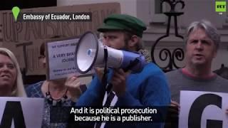 Vigil held for Julian Assange's asylum anniversary