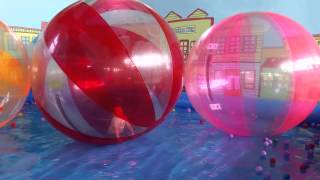 Kids having fun and playing in walking water ball. Funny video from KIDS TOYS CHANNEL