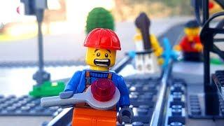 Horrible Lego train crash with biker and 2 girls