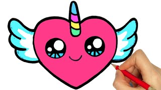 DRAWING AND COLORING A HEART EASY STEP BY STEP