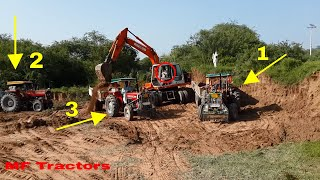 Extreme Excavator Load Three Tractor MF 260 Turbo MF 385 MF 375 , Massey Tractor Trolley Pulling