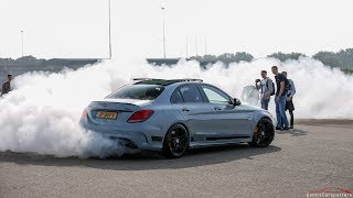 Mercedes C63 S AMG - Donuts, Burnouts, Launch Control & Stopped by Police !