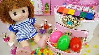 Baby doll color stamp drawer and surprise eggs mart toys play