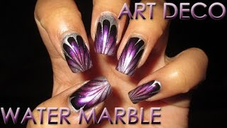 Fan Choice Friday | Art Deco Inspired | Water Marble March 2016 #7 | DIY Nail Art Tutorial