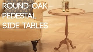 018 Round Oak Pedestal Side Tables - Ash Burl Veneer and Ebony Inlay