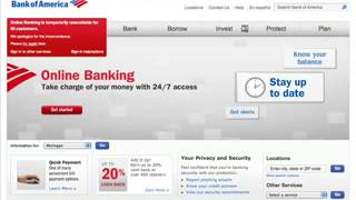Bank of America's Online Banking Down