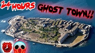 (SATANIC) 24 HOUR OVERNIGHT CHALLENGE // ABANDONED GHOST TOWN! REAL HAUNTED GHOST TOWN ⏰